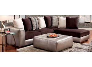 6350-Shimmer Pewter-Sectional (black & Silver leather)